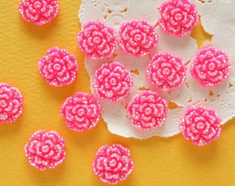 15 pcs  Bling Rose Cabochon (15mm)  AB Dark Pink FL419