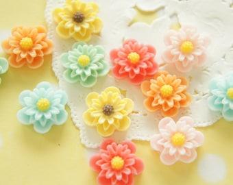 12 pcs Matte Finished Double layer Petal Flowers Cabochon (16mm) FL446