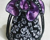 Black and White Damask Jewelry Pouch with purple lining