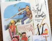 Lets Go Skiing Vintage Sports Collage, Scrapbook and Planner Kit Number 1976