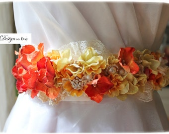 Hues of Autumn   burnt red, orange, yellow, brown, ivory floral sash accent by KgDesign