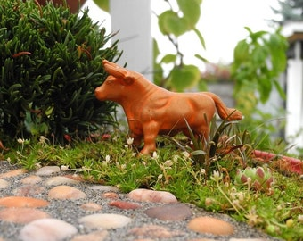 Miniature Garden Art Orange Cow for Mini Farm Art, Miniature Garden, Terrarium, Fairy Gardening, Garden Bling