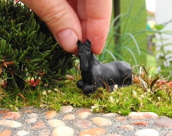 Miniature Garden Black Horse for Miniature or Fairy Gardening, Mini Sculpture, Dollhouse Miniature, Garden Miniature, Bling