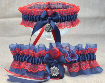 Navy Blue and Red US Marine Corps Wedding Garter Set - Lace - Keepsake and Toss - Hero - Military - USMC - 2