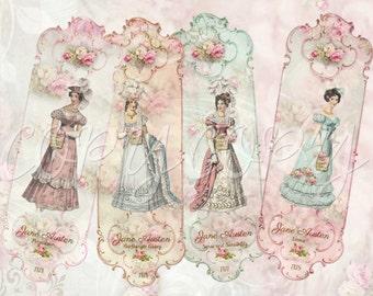 2 x 6 Jane Austen Bookmarks -  Digital Download - Printable  Digital Collage Sheet - Instant Download- Emma - Books
