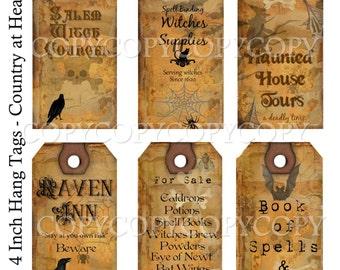 Instant Download Halloween 2 -  Hang Tags-  Printable Digital Collage Sheet - Digital Download