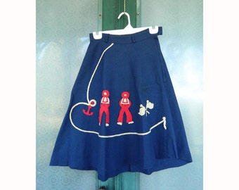 Sailor Nautical Theme Skirt in Navy Blue Wool Felt