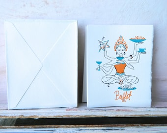 Vintage Buffet Party Invitations 18 with envelopes