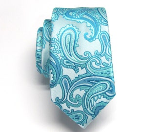 Men's Tie. Teal Blue Seaform Blue Paisley Mens Skinny Tie With Matching Pocket Square Option
