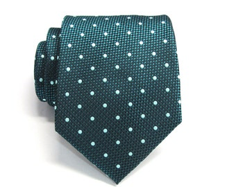 Mens Tie. Peacock Teal Green Sea Glass Blue Dot Mens Necktie with Matching Pocket Square Option