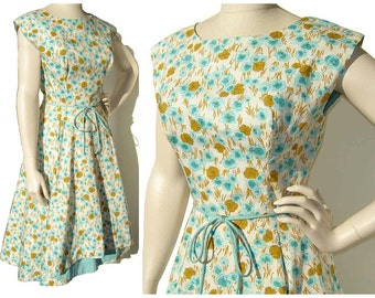 Vintage Carolyn Schnurer Dress 50s Modernist Rockabilly Floral Sundress M