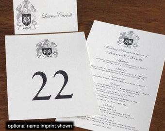 Family Crest Menu, Table Marker & Place Card Set