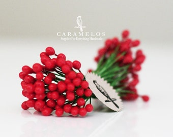 """36 Mini Double Ended Stems of Holly Berries Stamen Pips 1/4"""""""