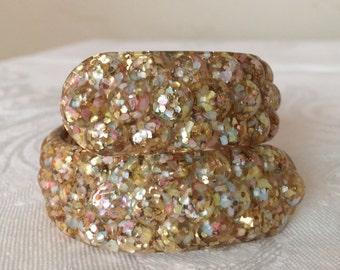 Lucite Confetti Clamper Bracelet