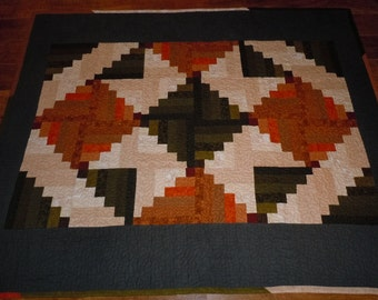 Flannel Log Cabin Quilted Throw