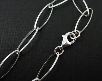 925 Sterling Silver Bracelet- Charm Bracelet-Big Chunky Chain - Diamond Cut Oval Chain - Finished Bracelet -7.5 inches ( 1 pc) SKU: 601025