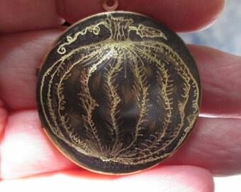 Pumpkin locket Original Artwork Engraved Design on Brass Vintage Locket jack o lantern art rustic