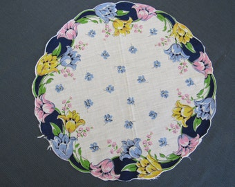 Round Vintage 1950s Ladies Printed Linen Handkerchief Hankie Springtime TULIPS Flowers