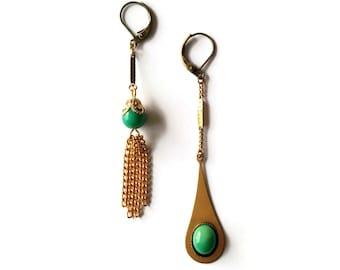 Green Mismatched Earrings - Asymmetric Vintage Tassel Jewelry - Martha Earrings (SD1029)