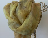hand painted soft chiffon silk floaty scarf rectangular 56 x 46 inches mustard mixed tones