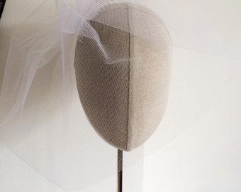 White Illusion Birdcage Veil 12 Inch Tulle Veil Blusher Veil