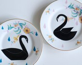 Two plate set black swans love couple male female vintage screenprinted marriage wedding gift