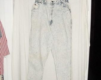 Vintage 80s Comgo Ladies Acid Wash Jeans 34 Waist Baggy High Waisted