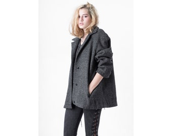 WOOL COAT grey minimal Pockets vintage short fall winter vintage Medium / better stay together