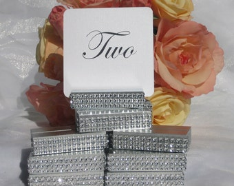Table Number Holder, Silver Table Number Holders wrapped with a crystal wrap (Set of 10) ON SALE