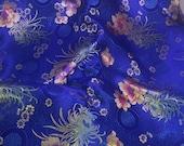 Blue Floral Medallions - Faux Silk Brocade Fabric - 1/4 Yard