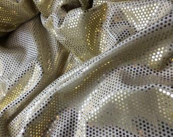 GOLD Lame Polka Dot Polyester STRETCH VELVET Fabric 1/4 yard remnant