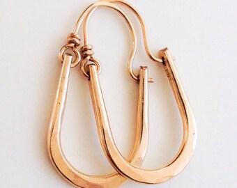 Petite Maria Hammered 14kt Gold Filled Hoops Earrings U Shape