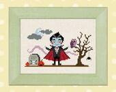 Cute Dracula. Halloween Scene Cross Stitch Pattern. PDF Instant Download