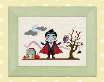 Cute Dracula. Halloween Scene Modern Simple Cute Counted Cross Stitch Pattern. PDF Instant Download