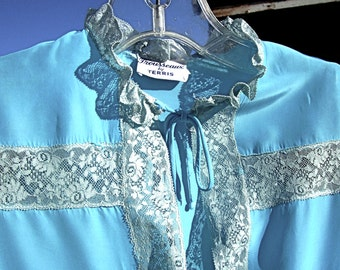 Vintage Rayon 40s Satin Nightgown Set FROZEN BLUE Lace Peignoir