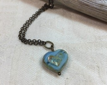 Blue heart necklace, Romantic jewelry, Valentine day gift, bridesmaid gift, heart jewelry, heart necklace