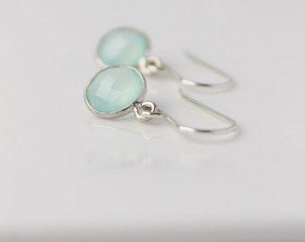 Aqua Chalcedony Moon Drop Earrings / Sterling Silver Gemstone Earrings / Everyday Earrings / Aqua Sterling Silver Earrings