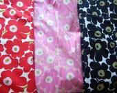 Fabric Marimekko Mini Innikko Yardage Pink, red and Black by the yard