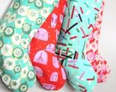 Christmas Stocking - Christmas Tree Tinsel -  Boy Girl Family - Holiday Stockings