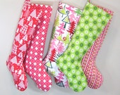 SALE Christmas Stocking - Retro Stars - Green White - Boy Girl Family - Christmas Decoration - Personalization Name Initial