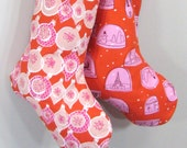 Christmas Stocking - Ornaments - Pink Red White - Boy Girl Family - Christmas Decoration