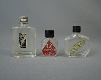 3 - 40s Vintage Miniature Perfume Bottles, Nad-Ji, 12 by Addis & La Richesse , empty bottles, 1940s Perfume