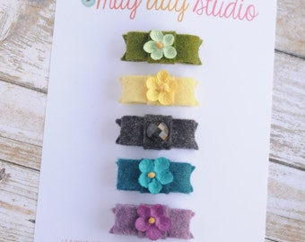 newborn baby girls bitty hair clips collection - fall felt snap clips set, green yellow charcoal turquoise purple baby hair clips