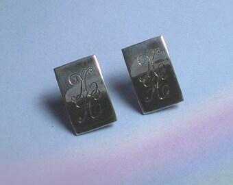 Vintage 40s Sterling Monogrammed Screwback Earrings NH