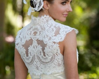 Plus Size Lace Bridal Topper - Plus Size Lace Topper - Plus Size Bridal Bolero - Phoebe