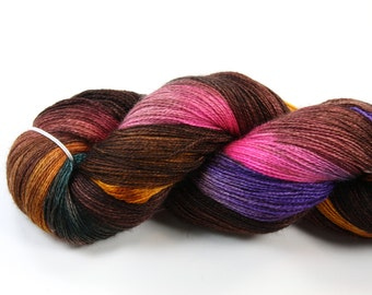 What the Fox Says--hand dyed lace weight yarn, BFL and silk, (875yds/100gm)