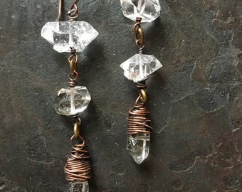 Herkimer Diamond Dangle Earrings Wire Wrap Crystal Earrings Copper Drop Earrings A Game of Thrones Jewelry Daniellerosebean Earrings