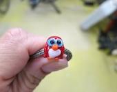 Red Valentine Penguin Lampwork Big Hole Bead