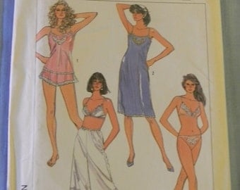 Vintage Simplicity Bias Slips, Camisole, Bra, Bakini, Culottes Slip and Panties Pattern #7672 Uncut Size 14