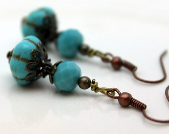 Turquoise Ribbed Melon Earrings, Turquoise Earrings, Melon Earrings, Jewelry, Vintage Style Earrings, Dangle Earrings